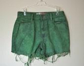 URBAN SHORTS - Hand Dyed Green Urban Style Denim High Rise Vintage Shorts - Misses Size 4 (29)