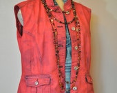 "Red Medium Denim VEST - Rustic Scarlet Hand Dyed Upcycled Urban Style Christopher Banks Denim Vest - Adult Womens Size Medium (44"" chest)"