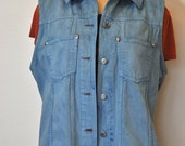 Blue Jr. Large Denim VEST - Dark Aqua Blue Hand Dyed Upcycled Eddie Bauer Denim Vest Jacket - Adult Womens Large (40 chest)