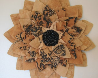 WALL HANGING - Topaz Toile Fiber Art Wall Decor Textile Flower Wall Hanging