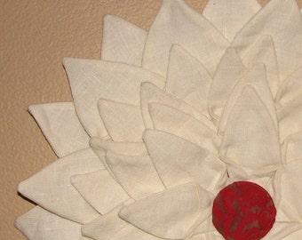 Wall Hanging - Ivory Linen Fiber Art Textile Flower Wall Hanging