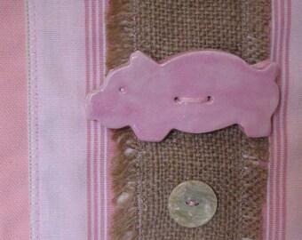 Pink Piggies Wall Hanging - The Three Little Pigs Ceramic and Burlap Fiber Art Fabric Wall Hanging