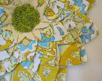 Vintage Table Cloth WALL HANGING - Yellow Aqua Gold Green Vintage Fabric Flower Fiber Art Wall Hanging
