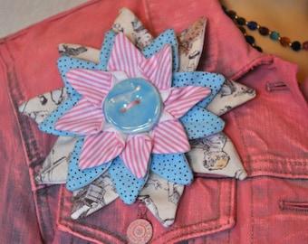 Flower Brooch PIN #13 - Powder Blue Pastel Pink Fabric Flower Corsage Brooch Pin
