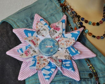 Flower PIN BROOCH #8 - Aquamarine Blue Pastel Pink Fabric Flower Corsage Brooch Pin
