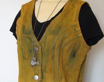 "Gold Medium Denim Jean VEST - Distressed Urban Gold Hand Dyed Upcycled Urban Style Nori Denim Vest - Adult Womens Juniors Large (38"" chest)"