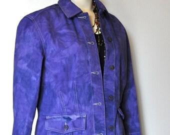 "Purple Medium Denim JACKET - Violet Blueberry Hand Dyed Unique Upcycled Caribbean Joe Denim Barn Jacket - Adult Womens Medium (36"" chest)"