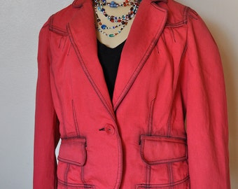 """Red Small Denim JACKET - Ruby Red Hand Dyed Upcycled Loft Denim Blazer Jacket - Adult Womens Small (40"""" chest)"""