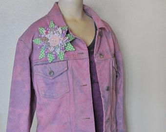 "Pink Medium Denim Jacket - Mauve Pink Hand Dyed Urban Upcycled Cropped Espirit Denim Trucker Jacket - Adult Womens Medium  (42"" chest)"