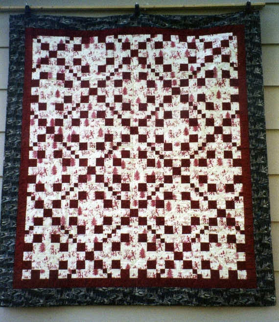 """Patchwork QUILT  - Winter Red and White Christmas Quilt Throw - Irish Chain Pattern - 60 x 69"""""""