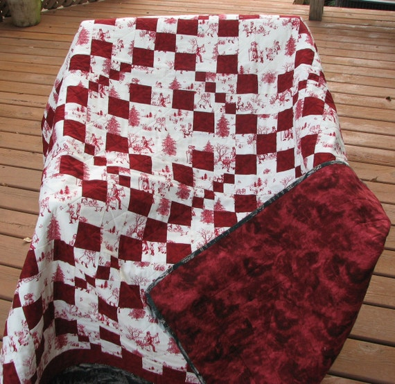 Patchwork Quilt Winter Red And White Christmas Quilt Throw