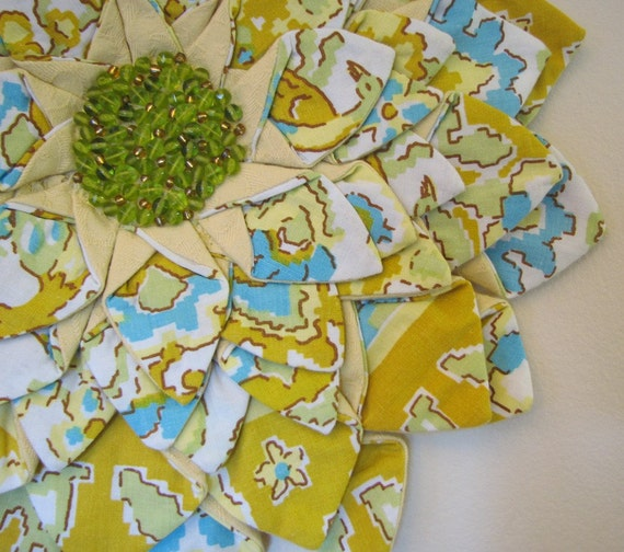 WALL HANGING - Yellow Aqua Gold Green Vintage Fabric Flower Fiber Art Wall Hanging