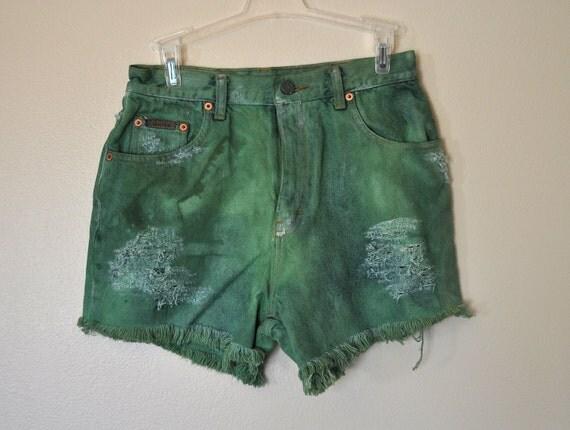 VINTAGE Calvin Klein SHORTS - Hand Dyed Kelly Green Urban Style Distressed Destroyed Denim High Rise Vintage Shorts - Boys Size 16 (28)