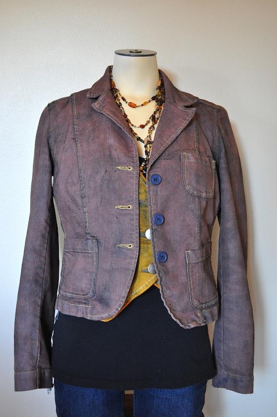 "Brown Jrs. Medium Denim JACKET - Cocoa Hand Dyed Upcycled Distressed Jordache Denim Blazer Jacket - Adult Womens Juniors Medium (34"" chest)"