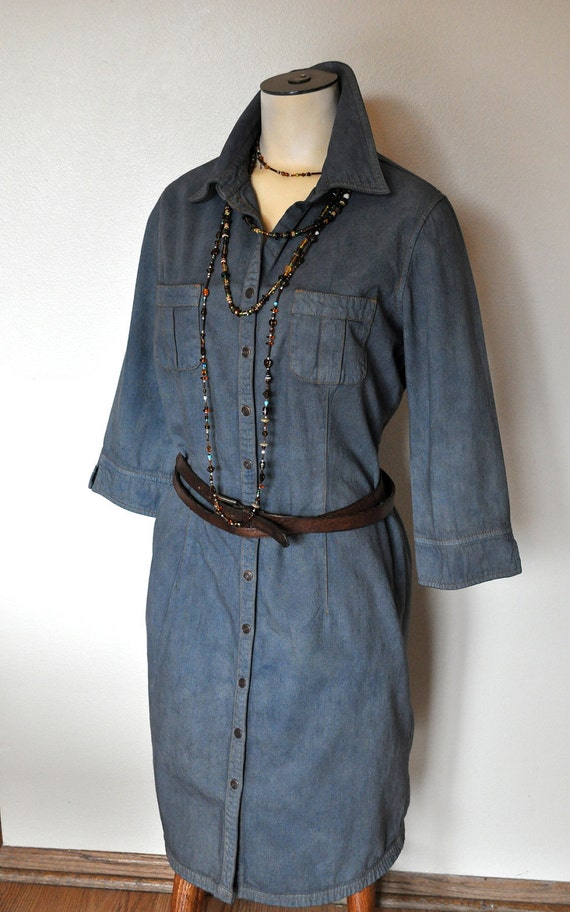 "Denim Shirt Dress - Gunmetal Grey Hand Dyed Unique OOAK Upcycled Urban Denim Shirt Dress - Size 10 Medium (38"" chest)"