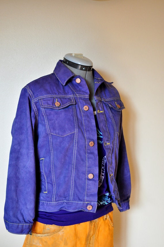 Mens Teen Small Denim JACKET - Violet Purple Hand Dyed Upcycled Old Navy Denim Trucker Jacket - Size Young Men Small size 8 Youth (38 chest)