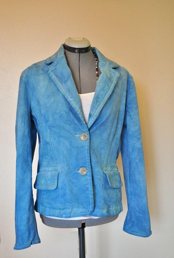 Aqua Large Denim JACKET - Aquamarine Blue Hand Dyed Upcycled Repurposed Banana Republic Denim Blazer Jacket - Adult Women's Large (40 chest)