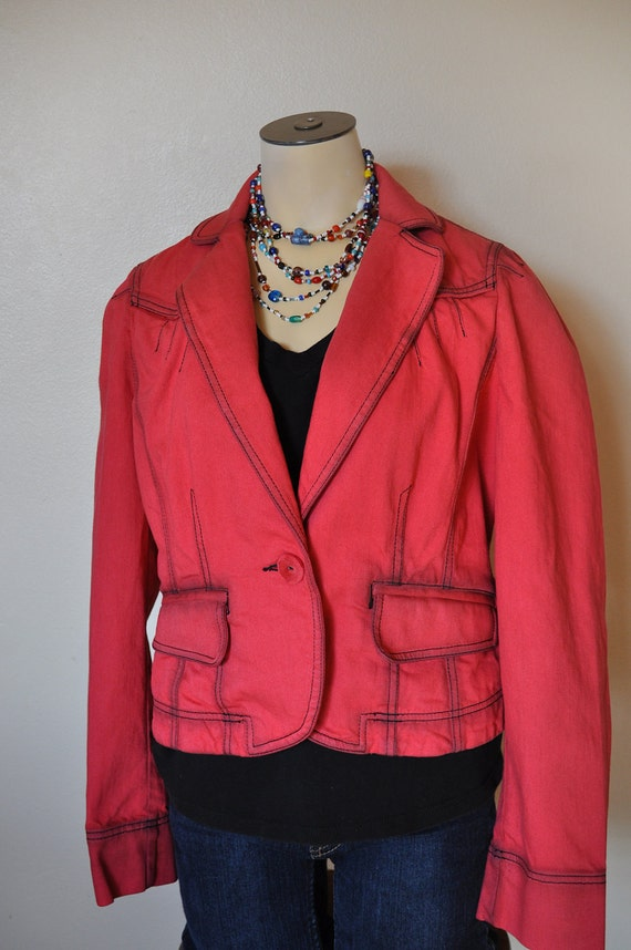 "Red Small Denim JACKET - Ruby Red Hand Dyed Upcycled Loft Denim Blazer Jacket - Adult Womens Small (40"" chest)"