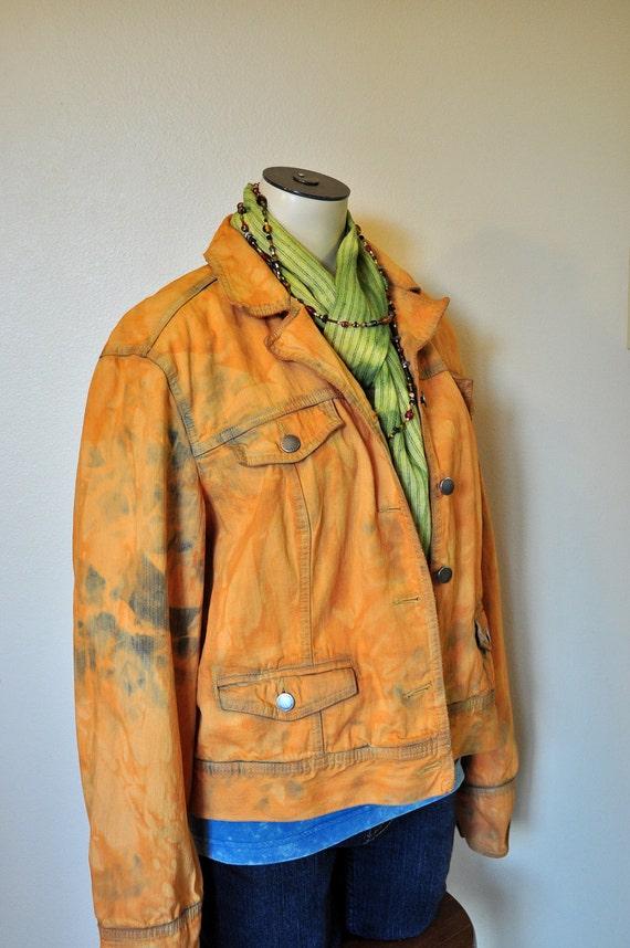 "Orange Medium Denim JACKET - Tangerine Orange Hand Dyed Upcycled Repurposed Villager Trucker Denim Jacket - Adult Womens Medium (42"" chest)"