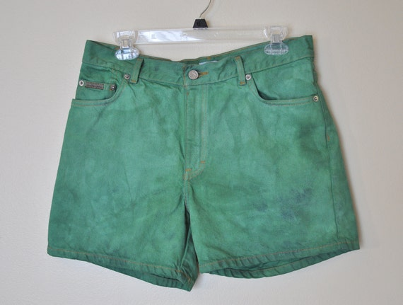 Vintage Dyed Denim Shorts - Hand Dyed Green Urban Style Denim High Rise Vintage Shorts - Misses Size 12 (33)