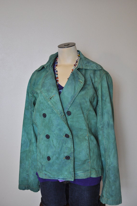 Green Jrs. Large Denim JACKET - Kelly Green Dyed Upcycled No Boundaries Double Breasted Denim Jacket - Adult Womens Juniors Large (40 chest)