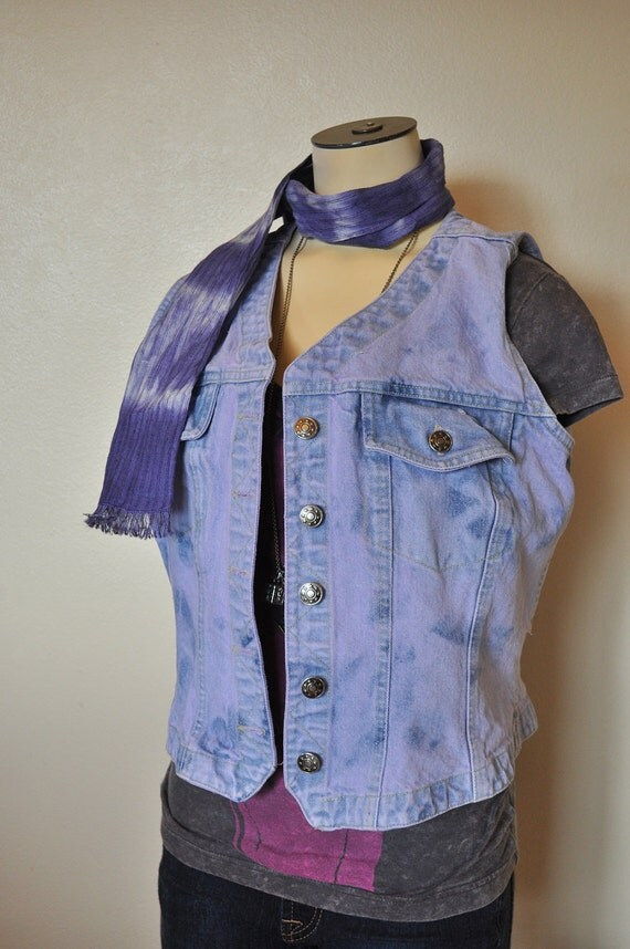 PASTEL DENIM VEST - Lavender Lilac Violet Hand Dyed Upcycled Denim Vest - Medium
