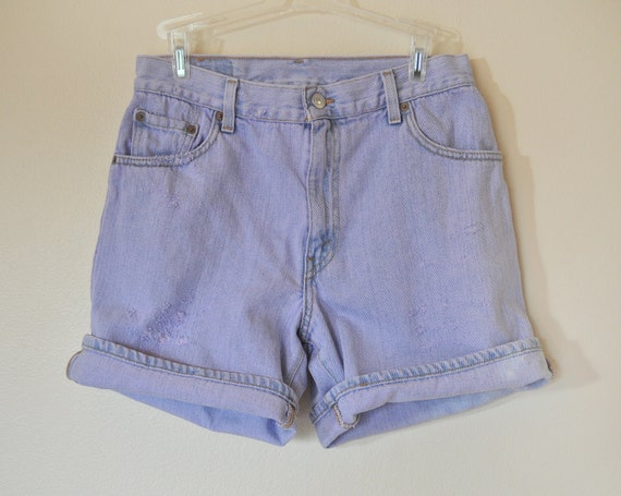 LEVI'S DENIM SHORTS  - Hand Dyed Violet Lavender Lilac Urban Style High Waist Denim Vintage Shorts -  Size  10 (30)