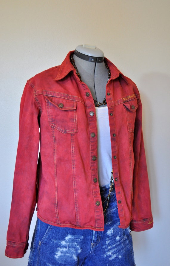 Vintage Denim Shirt - Scarlet Red Hand Dyed Upcycled Denim Shirt - Size Small