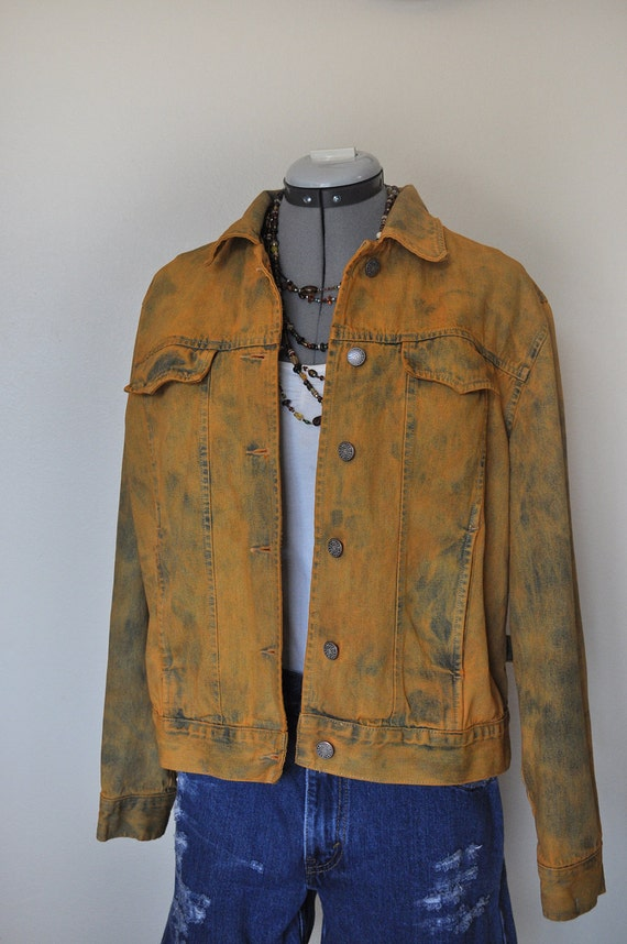 "Orange Medium Denim Jean JACKET - Yellow Orange Hand Dyed Upcycled Bill Blass Trucker Denim Jacket - Adult Womens Medium (42"" chest)"