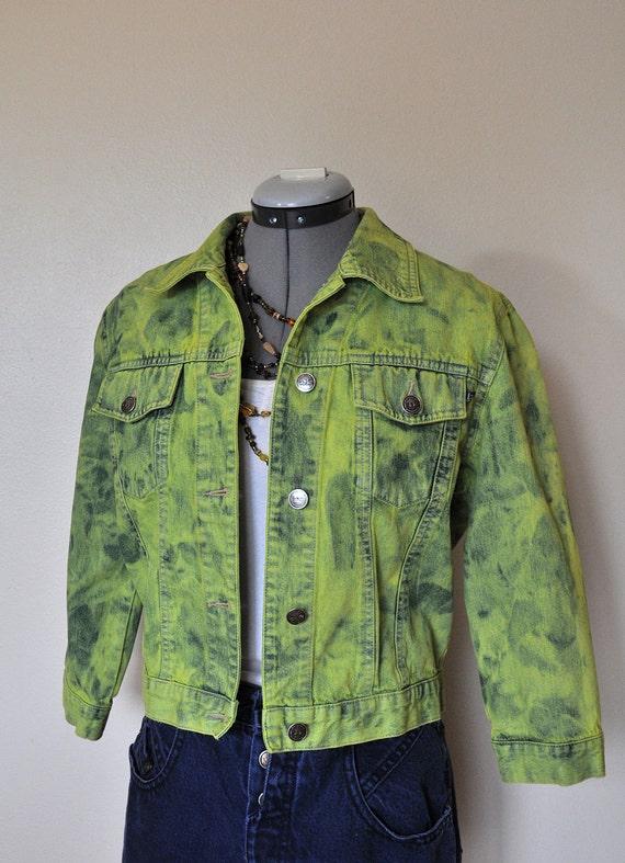 "Yellow Medium Denim JACKET  - Chartreuse Green Dyed Upcycled BKLE Lifestyle Denim Cropped Trucker Jacket - Adult Womens Medium (36"" chest)"