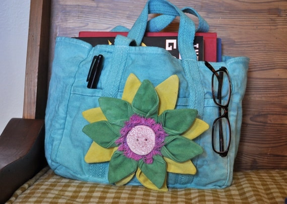 Aqua Dyed Canvas Flower TOTE - Hand Dyed Upcycled Canvas Tote Handbag Purse Garden Book Knitting Bag with Decorative Fabric Flower