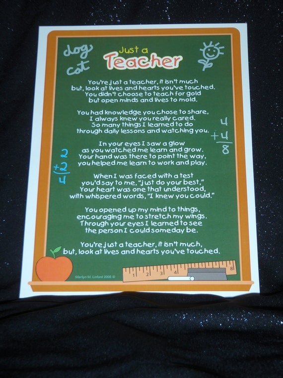 Just a Teacher Poem and Bookmark