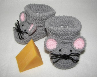 Baby Booties, Mouse Mice NB to 6 Months Finely Finished Crochet Baby Gift