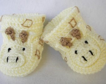 Baby Booties, Giraffe NB to 6 Months or Finely Finished Crochet Baby Gift