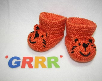 Baby Booties, Tiger NB to 6 Months Finely Finished Crochet