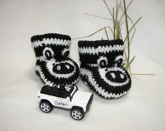 Baby Booties, Zebra NB to 6 Months or 6 to 12 Months Finely Finished Crochet