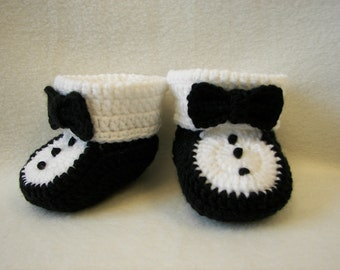 Baby Booties, Tuxedo, NB to 6 Months Finely Finished Crochet