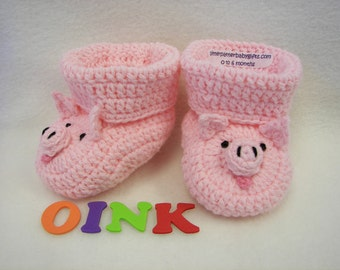 Baby Booties Pig Newborn to 6 Months or 6 to 12 Months Finely finished Crochet
