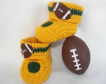 Baby Booties, Football, Green Bay Packers, Choose Your Team Colors NB to 6 mo or 6 to 12 mo
