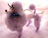 Retro Poodle Decoration or Mirror Ornament in Purple, 50s, 60s Nostalgia
