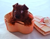 Chow Chow Puppy in a Surprise Heart Box, Chocolate Brown Dog Figurine