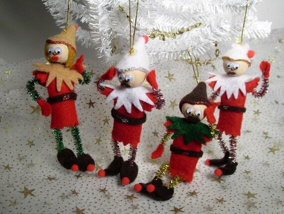 Adorable Felt Elf Christmas Tree or Desktop Ornaments - Set of 4