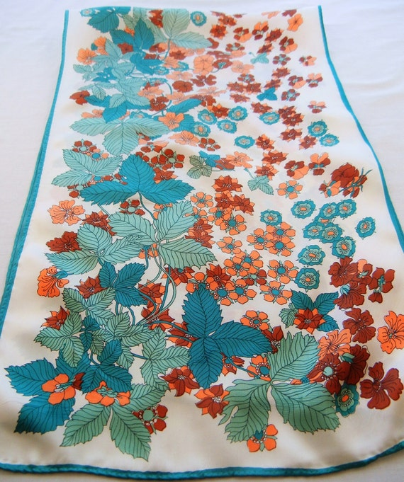 Orange and Teal Floral Scarf, Botanical Strawberry Leaves and Flowers, 70s