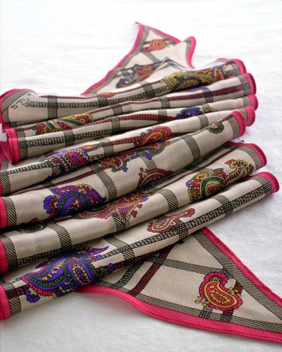 Oscar De La Renta Silk Scarf Tie, Taupe and Cherry, Paisley Purple Yellow Accents