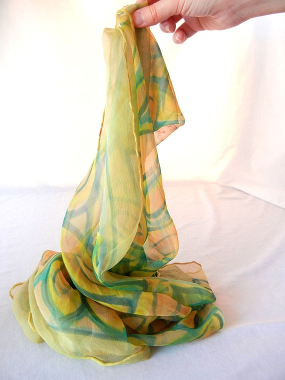 Chiffon Scarf In Citrus and Blue Green Psychedelic Flower, French Hand Dyed