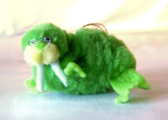 Green Walrus Christmas Ornament Decoration, Mod Lime 60s Pom Pom Animal