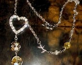 SALE Rhinestone Heart necklace OOAK  with vintage crystal beads free shipping