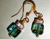 Gorgeous Swarovski cube earrings with rhinestones and gold-filled earwires