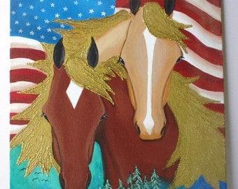 Original horse painting - Folk Art style on patriotic background