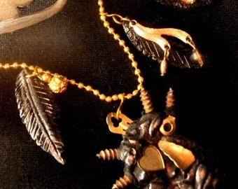 Goth Demon necklace steampunk devil monster